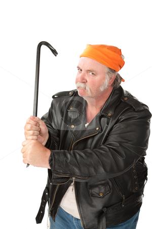 Man weilding a crowbar stock photo, Fat hoodlum with a mean face gripping a crow bar by Scott Griessel