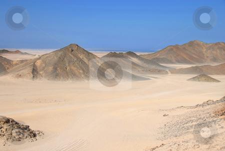 Egypt desert stock photo, Sahara dry desert view by Hurghada, Egypt, hills and sand by Julija Sapic