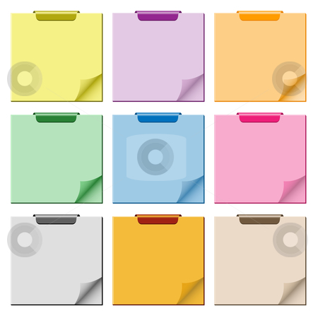 Notepad with page curl set stock vector clipart, Notepad set in assorted colors with page curled up, clip at top of pad and ample copy space for text. by toots77