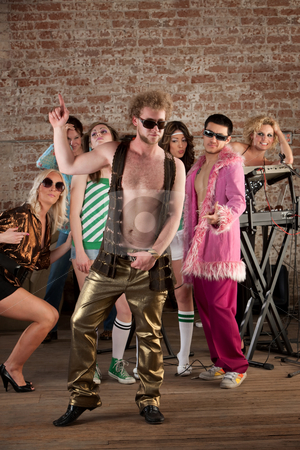1970s Disco Music Party stock photo, Dancing man with sunglasses at a 1970s Disco Music Party by Scott Griessel