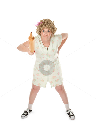 Tough Mama stock photo, Angry housewife with rolling pan on white background by Scott Griessel