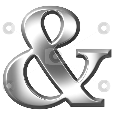 3D Silver Ampersand stock photo, 3d silver ampersand isolated in white by Georgios Kollidas