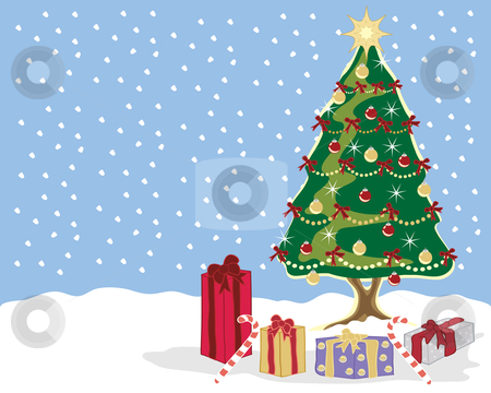 Christmas scene stock vector clipart, A hand drawn illustration of a christmas tree with decorations and presents in a snowy setting by Mike Smith