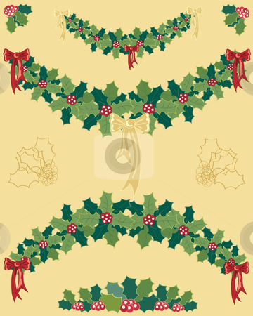 Holly garland stock vector clipart, A hand drawn illustration of christmas holly garlands with red and gold ribbons on a gold background by Mike Smith