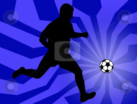 Soccer player stock photo, Soccer player silhouette on blue background by Ioana Martalogu