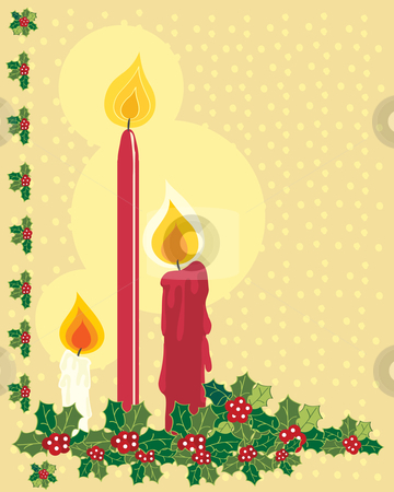 Christmas candles stock vector clipart, A hand drawn illustration of red and white christmas candles with flames and holly on a gold snowy background by Mike Smith