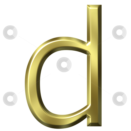 3d golden letter d stock photo, 3d golden letter d isolated in white by Georgios Kollidas