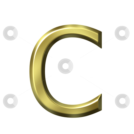 3d golden letter c stock photo, 3d golden letter c isolated in white by Georgios Kollidas