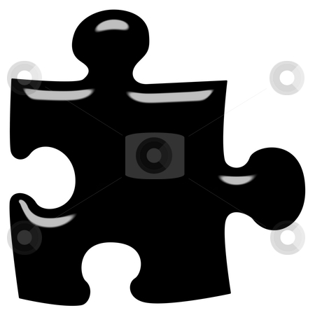 3D Puzzle Piece stock photo, 3d puzzle piece isolated in white by Georgios Kollidas
