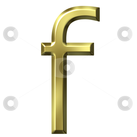 3d golden letter f stock photo, 3d golden letter f isolated in white by Georgios Kollidas