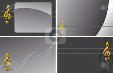 Music stock vector clipart, Various backgrounds with clef by J?