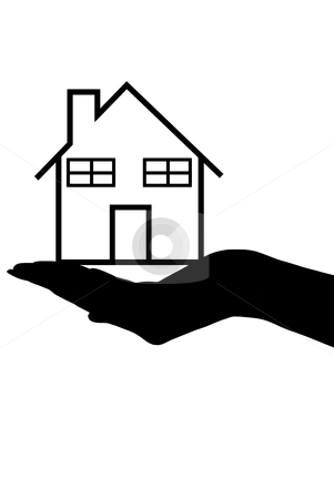 House stock vector clipart, Hand silhouette holding a house isolated on white by Ioana Martalogu