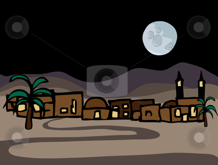 Little Near East Desert Town stock vector clipart, A small near east desert town with full moon at night by Eric Basir