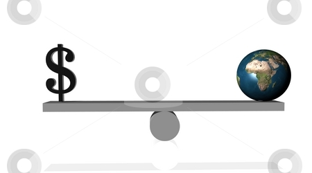 Balance between money and planet earth stock photo, Black dollar in balance with earth in white background by Elenarts
