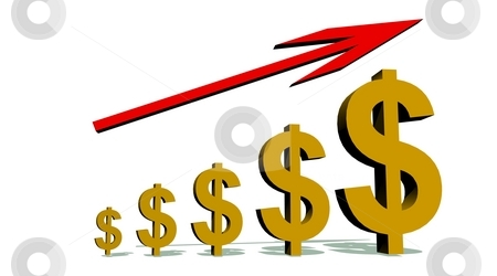 Progression to Success stock photo, Growing dollars under a red meaning growth arrow by Elenarts