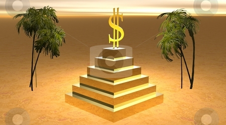 God of money stock photo, Yellow dollar on a pyramid and between two revering palm trees in desert by Elenarts