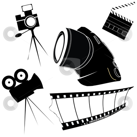 Stylized photo icons stock photo, Photography and film making related icons by Richard Laschon