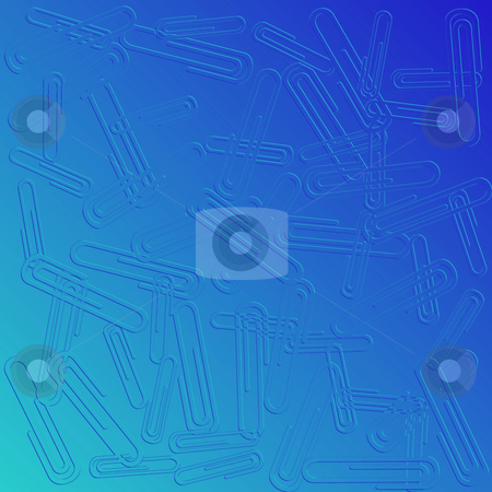 Paper clips  stock photo, Paper clips background in blue tones by Richard Laschon