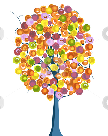 Tree stock photo, Artistic drawing sketch of a tree in vivid colors by Richard Laschon
