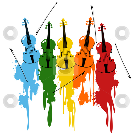 Violins background stock photo, Color vionlins and bows with paint splats over white by Richard Laschon