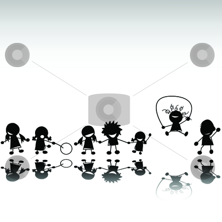 Kids silhouettes stock photo, Group of kids playing by Richard Laschon