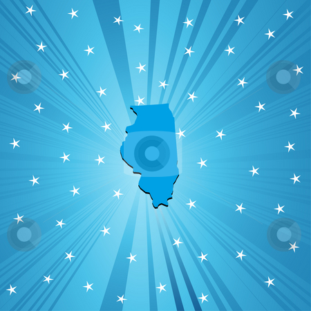 Blue map of Illinois stock photo, Blue  Illinois map, abstract background for your design by Richard Laschon