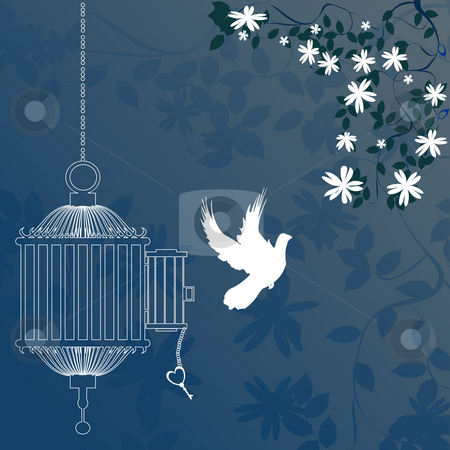Bird and cage  stock photo, Bird and cage with cherry blossom tree by Richard Laschon