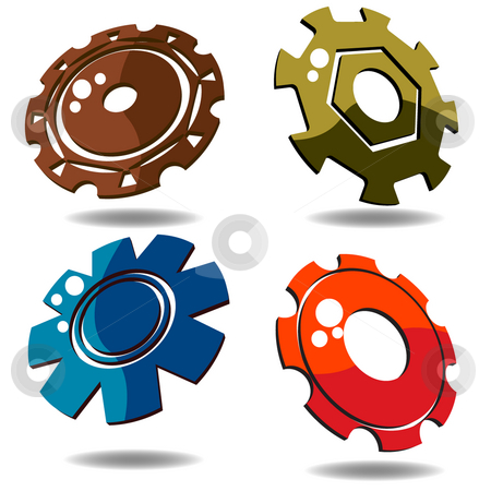 3d gears stock photo, Gear icons over white background in various colors by Richard Laschon