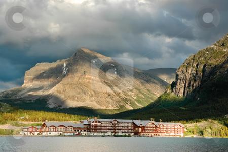 Many Glacier Hotel stock photo, Historic Many Glacier Hotel at Glacier National Park by Don Fink