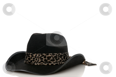 A Black cowboy hat  stock photo, A Black cowboy hat on a white background by Homydesign