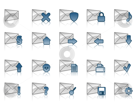 Email icons stock vector clipart, Collection of email icons by J?