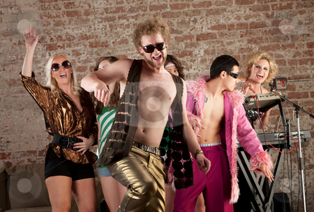 Funny Dancer stock photo, Funny dancer with sunglasses at a 1970s Disco Music Party by Scott Griessel