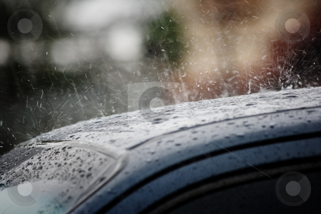 Rain on a car roof  stock photo, Rain on a car roof in the background in Costa Rica by Scott Griessel