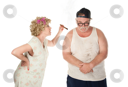 Bickering Couple stock photo, Hillbilly housewife breating her husband by Scott Griessel