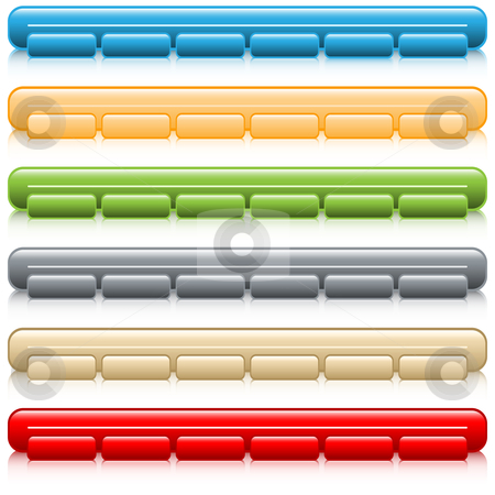 Web button navigation bars stock vector clipart, Web buttons, navigation bars with reflection, set of 6 in assorted colors. Isolated on white. by toots77
