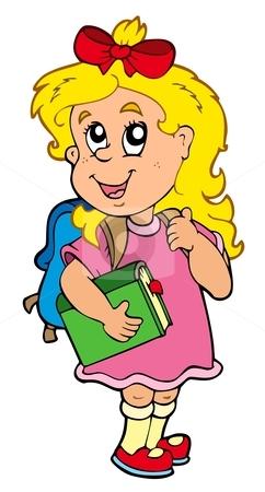 School girl with green book stock vector clipart, School girl with green book - vector illustration. by Klara Viskova