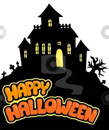 Happy Halloween sign with house stock vector clipart, Happy Halloween sign with house - vector illustration. by Klara Viskova