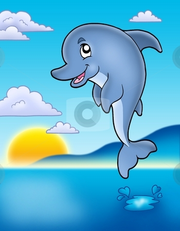 Cute jumping dolphin with sunset stock photo, Cute jumping dolphin with sunset - color illustration. by Klara Viskova