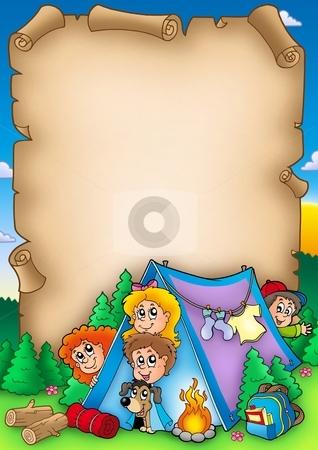 Scroll with group of camping kids stock photo, Scroll with group of camping kids - color illustration. by Klara Viskova