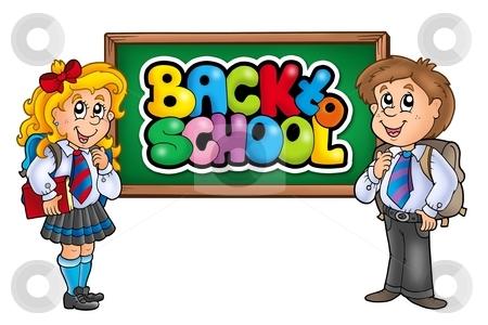 Children in school 2 stock photo, Children in school 2 - color illustration. by Klara Viskova