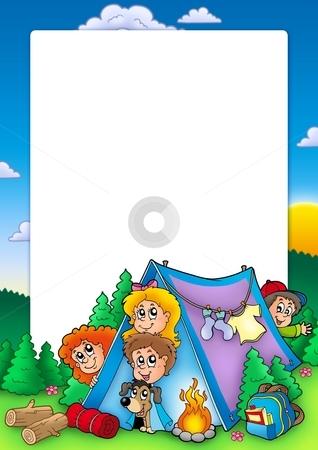 Frame with group of camping kids stock photo, Frame with group of camping kids - color illustration. by Klara Viskova
