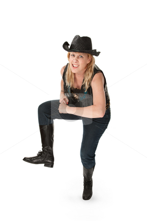 Funny Dance stock photo, Funny cowgirl with hat and sunglasses on white background by Scott Griessel