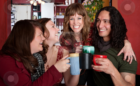 Hanging Out stock photo, Four chummy friends hanging out at a bistro by Scott Griessel