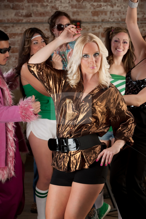 Cute Dancer stock photo, Cute Blond Woman in short shorts at a 1970s Disco Music Party by Scott Griessel