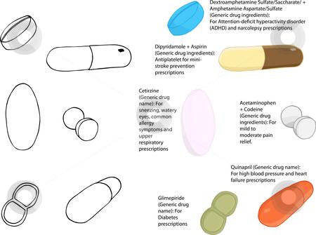 Meds, Pills and Drugs II stock vector