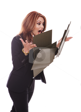Businesswoman dropping files stock photo, Businesswoman dropping files, isolated on white by Gevorg Gevorgyan