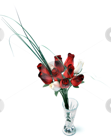 Wooden Rose Bouquet stock photo, A bouquet of wooden roses in a glass vase, isolated against a white background by Richard Nelson