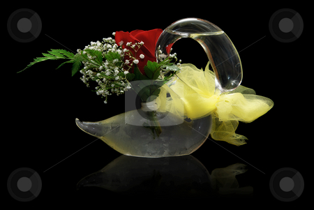 Glass Swan stock photo, A single red rose in a glass swan, isolated on a black background with a reflection by Richard Nelson