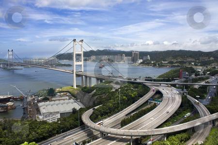 Tsing Ma Bridge in Hong Kong  stock photo, Tsing Ma Bridge in Hong Kong by Keng po Leung