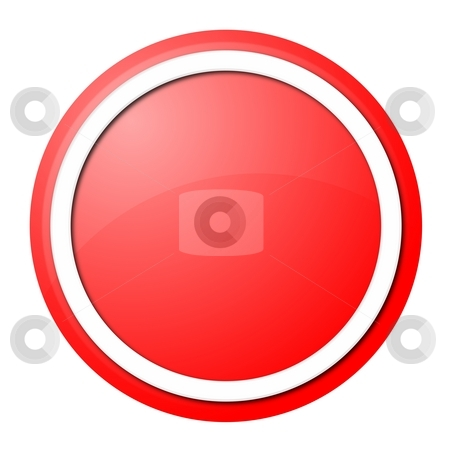 Red button stock photo, Round button with white ring for web design and presentation by Henrik Lehnerer